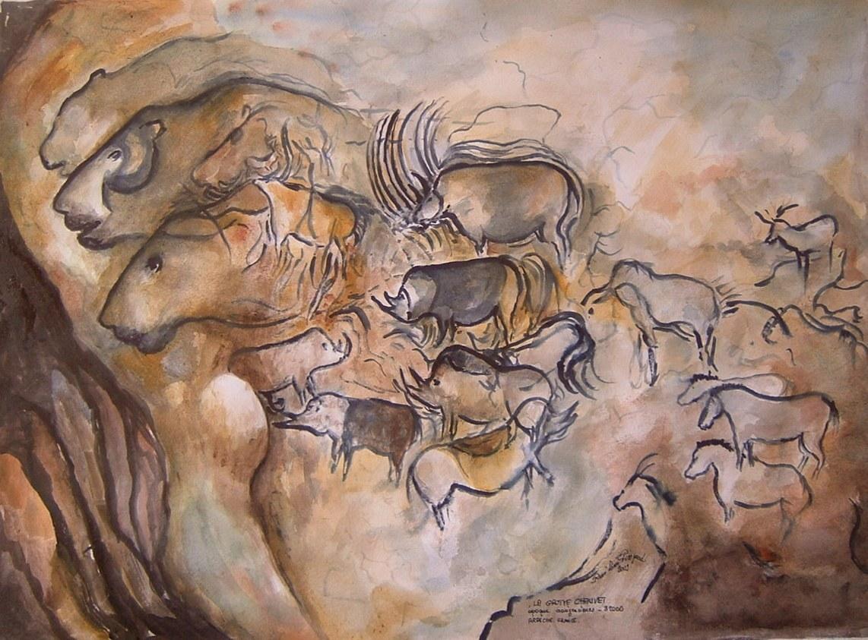 reproduction de peinture préhistorique, peinture rupestre, peinture préhistorique, art pariétal,